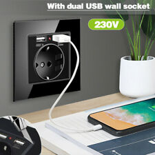 220V EU Glass Wall Socket Electrical Power Outlet With 2x2.1A USB Charger Port