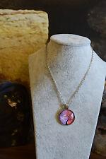 Tachyon Medalion Vintage  Anhänger Glas Cabochon Halskette Geschenk N135