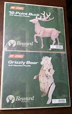 Wooden 3D puzzle Grizzly Bear + Deer Buck New  animals model display DIY