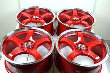 """4 New DDR Fuzion 17x7.5 5x100/114.3 38mm Red/Polished Lip 17"""" Wheels Rims"""