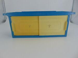 MCM Retro Vintage 50s 60s 70s Blue Plastic Bathroom Shelf sliding doors