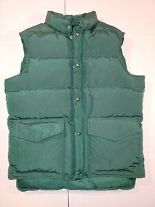 Vintage Woolrich Down Puffer Vest Mens M Green Snap Front Made In USA