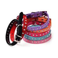 Kleine Hundehalsbänder Leder Einstellbare Strass Kristall Welpen Katze Halskette