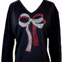 LARGE Hand Embellished Big Red & Silver Christmas Holiday Present Bow Top Shirt
