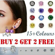 WOMENS SOLID 925 STERLING SILVER CUBIC ZIRCONIA ROUND STUD EARRINGS COLOUR EAR