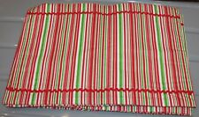 5 NOS Christmas red green white striped fabric PLACEMATS ric rac s2