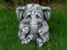 Steinfigur Elefanten Elefant schwarz patiniert