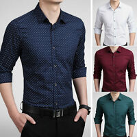 Mens Long Sleeves Shirts Formal Business Work Slim Fit Dress Multicolor T6284