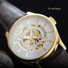 Invicta Objet d'Art Automatic Mechanical Skeleton Gold Brown Leather Mens Watch