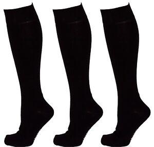 3 Pairs Men Cotton Rich Long Knee High Plain Black Socks