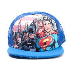 DC COMICS JUSTICE LEAGUE BATMAN/ SUPERMAN/ FLASH BLUE TRUCKER SNAPBACK CAP *NEW