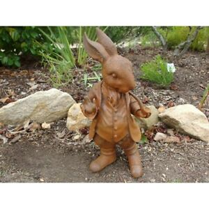 Mad Hatter Rabbit Rusty Cast Iron Garden Statue Ornament Small