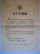 MANIFESTO LUOGOTENENZA VENEZIA 1853 LIMITE ELEVAZIONE SULLE AUTOVETTURE (b18-35)
