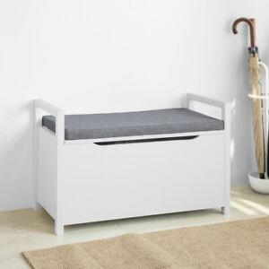 SoBuy Sitzbank mit Stauraum Sitztruhe Truhenbank Spielzeugkiste Weiß FSR76-W