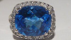 NYC Designer EMA 14K GOLD 0.28 CT Diamond 8 CT Natural Blue Topaz Ring Ballerina