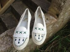 BN Ladies' Clarks White Leather Loafer shoes size 7 vintage style