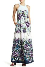 NEW TED BAKER Blue Floral Print ZILOH Halter Maxi Pocket Zip Dress Gown 5 12/14
