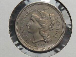 UNC 1865 3¢ Cent Nickel.  #20