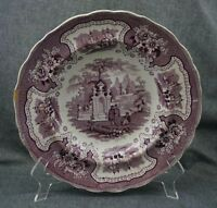 ADAMS Staffordshire PALESTINE RIMMED SOUP Bowl Plate - MULBERRY 10 5/8""