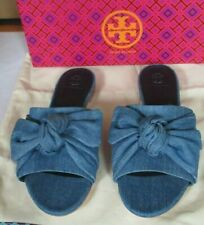 Tory Burch Annabelle Bow Slide Sandal in Denim Chambray - Size 8 NIB $258