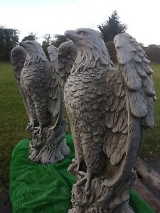 Very large stone eagles pair reconstituted stone/concrete 110kg each