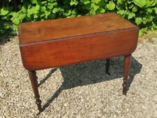 More details for antique edwardian mahogany pembroke drop leaf table with drawer on brass casters