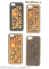 iPhone 5 Cover ~Blk/Brn TOOLED LEATHER~ Protective Case Hardback Western Cowboy