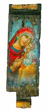 Handmade Wooden Greek Orthodox Icon Painting Canvas Virgin Mary Jesus Christ 22A