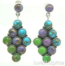 STS Chuck Clemency? Multi Stone Sterling Silver Turquoise Dangle Rhombus Earring