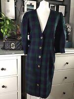 Vintage 80s 90s Tartan Dress 8 10 Button Shirt Power Dressing Puff Shoulder