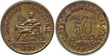 50 CENTIMES CHAMBRE DU COMMERCE 1926 SUP++