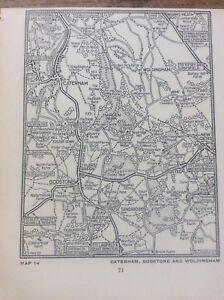 "Caterham Godstone Woldingham c1920 Map London South of the Thames 5x4"""