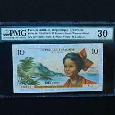 ND (1964) French Antilles 10 Francs, Pick # 8b, PMG 30 Very Fine