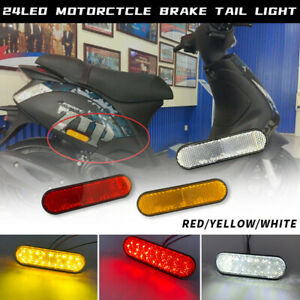 2PCS Universal Motorcycle License Plate Light Brake Tail Lights with Reflector