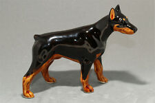 Pinscher (black&tan) ceramic dog figurine. Great gift for dog lovers.