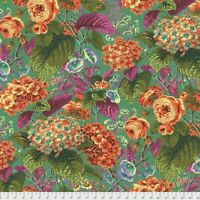 Rose & Hydrangea Green by Kaffe Fassett for FreeSpirit 1/2 Yard Cotton Fabric