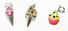 3 New Sterling Silver, Enamel & Crystal Sweet Tooth Ice Cream & Cupcake Charms