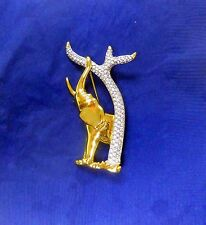 Swarovski Crystal Genuine Signed With Swan White Stone Elephant Pin.