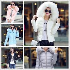 Women Winter Down Cotton Warm Jacket Short Fur Collar Hooded Coat Parka