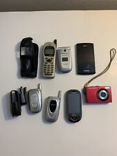 Lot Of 7 Old Vintage Used Cell Phones & Camera