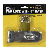 "4"" HASP & STAPLE Gate Door Shed Latch Lock With 25mm Brass Padlock + 2 Keys"