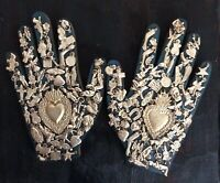 """MILAGRO HANDS SET Blue Wood Hands With Charms Sacred Heart 8"""" ExVotos"""