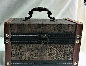 """NWT Leather Trimmed, Embossed Box or Trunk - Copper Glow, Red & Black 5.5"""" Tall"""