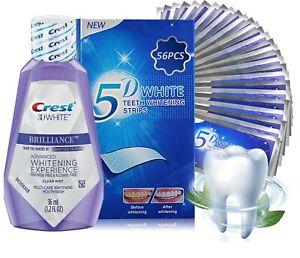 5D WHITE TEETH WHITENING STRIPS + CREST3D MOUTHWASH 2 WEEKS SUPPLY