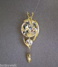 "SWAROVSKI ""CLEAR"" TRI CRYSTAL ELEMENTS DIAMOND-LIKE PENDANT GOLD PLATED"