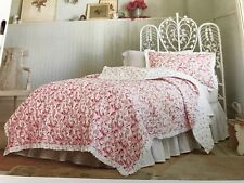New Simply Shabby Chic Twin Country Paisley Floral Red Quilt