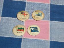 a. 4 Late 1800's Flag Pins  Gum Cigarettes Uruguay New Zealand Greece Bulgaria