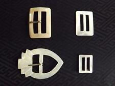 4 Vintage Carved Mother of Pearl Belt Buckles for Dress Making Sewing Crafting.