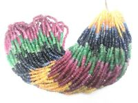 """1 Strand Natural Multi Sapphire Rondelle Faceted 2.5-3mm Gemstone Beads 16""""inch"""