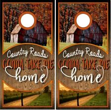 Rustic Wood Country Roads LAMINATED Cornhole Wrap Bags Skin Decal Sticker